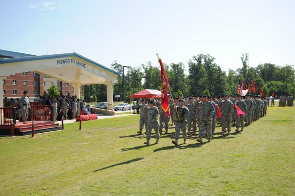 The 59th Ordnance Brigade Pass and Review closes out the Assumption of Command. (Shown in the photo - Lt. Col. Susan Manion leads the 16th Ordnance Battalion.)