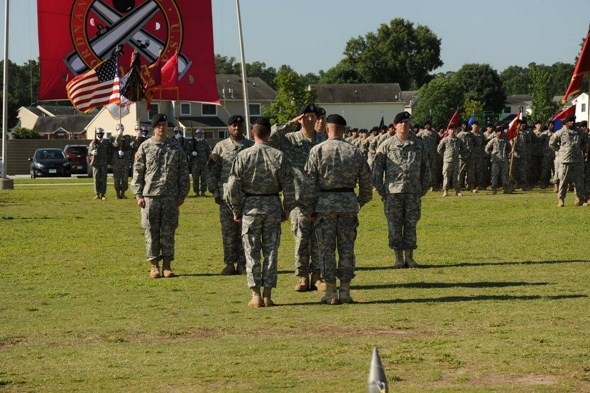 Col. Groark, Commander of Troops, receives MG Lyons and BG Ryan for the Inspection of Troops.