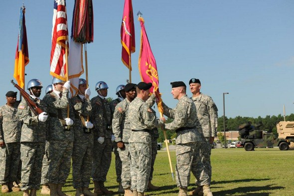 MG Lyons passes the US Army Ordnance School Flag to BG Ryan signifying his assumption of responsibilities as the Commandant.