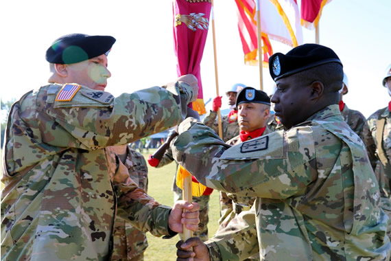 Brig. Gen. Wilson relinquishes his responsibilities as Commandant of the U.S. Army Ordnance School by passing the Ordnance School Colors to Major General Hurley.