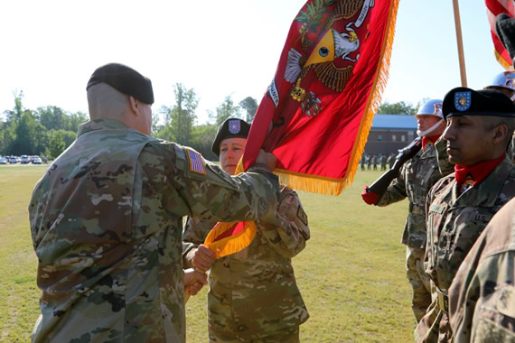 Brig. Gen. Heidi J. Hoyle receives the Ordnance School Colors, assuming Command as the 41st Chief of Ordnance, and Commandant of the U.S. Army Ordnance School.