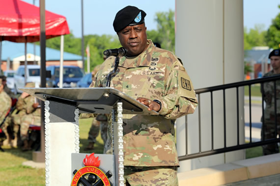 Brig. Gen. Wilson, 40th Chief of Ordnance, offers his farewell remarks at the Change of Command on May 8, 2018.