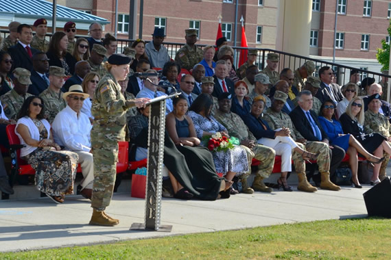 Brig. Gen. Hoyle closes out the ceremony with remarks to the audience and the Soldiers on the field.