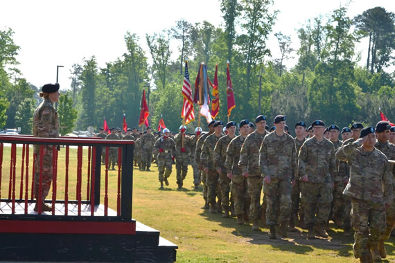 Brig. Gen. Hoyle observes as 59th Ordnance Brigade and its Battalions conduct the Pass in Review with the Color Guard lead by Command Sgt. Maj. Terry Burton, the 13th Regimental Command Sgt. Maj.