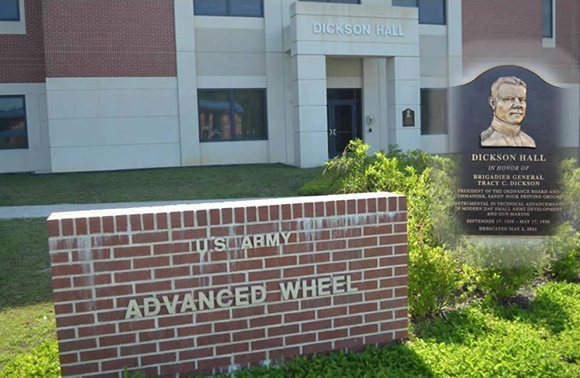 Dickson Hall (Advanced Wheel) was dedicated (5 May 11) to the memory of BG Tracy C. Dickson who was instrumental in technical advancements of modern day Small Arms development and gun making
