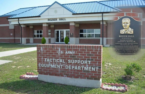 Rozier Hall (Tactical Support Equipment Department) was dedicated (20 Nov 09) to the memory of MG Jackson E. Rozier who reestablished the Office of the Chief of Ordnance and unified command of the OD Schools by consolidating Training and Operations at Aberdeen Proving Ground as the U.S. Army OD Command