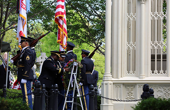 Brig. Gen. David Wilson, 40th Chief of Ordnance, paid tribute to President James Monroe, the 5th President of the United States, on the 259th anniversary of his birth. Brig. Gen. Wilson was accompanied by Cmd. Sgt. Maj. Terry Burton as he laid a wreath at President Monroe's tomb at Hollywood Cemetery.