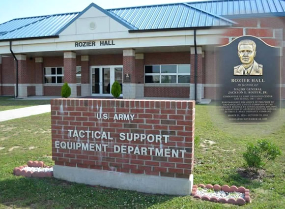 Rozier Hall (Tactical Support Equipment Department)</b> was dedicated (20 Nov 09) to the memory of MG Jackson E. Rozier who reestablished the Office of the Chief of Ordnance and unified command of the OD Schools by consolidating Training and Operations at Aberdeen Proving Ground as the U.S. Army OD Command