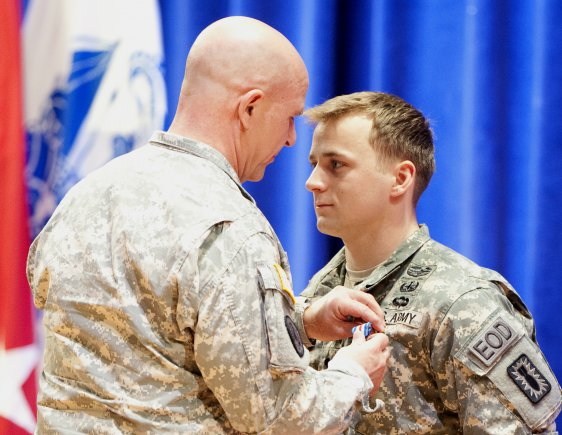 Spc. Samuel Crockett, of the 20th Chemical, Biological, Radiological, Nuclear and Explosives Command, is being awarded the Silver Star for his actions on Oct. 5 in Zharay district west of Kandahar